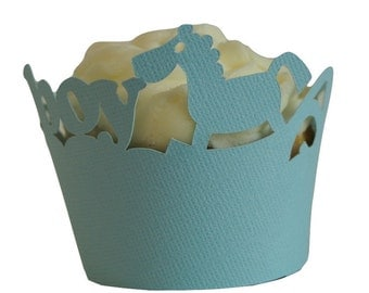 Blue Lagoon It's A Boy Cupcake Wrappers, Set of 12, Baby Shower/Baby Boy, Blue Texture, Cupcake Décor, Party Supplies