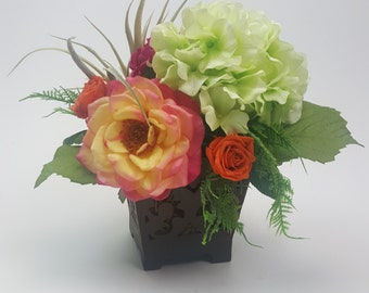 European Style, French country bouquet, shabby chic, Faux Flower arrangement, silk blossoms, English garden with air plant, roses, hydrangea