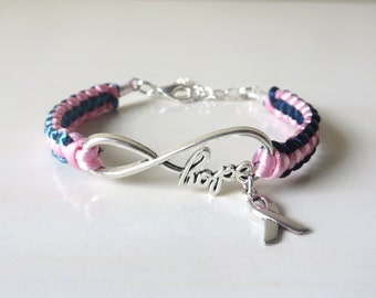 Thyroid Cancer/Disease Hashimotos Graves HOPE Awareness Ribbon Charm Bracelet with Optional Hand Stamped Letter Initial Charm