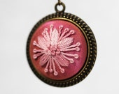 Pink Flower Necklace / Embroidered Jewelry / Bridesmaid Gift / Bridal Jewelry