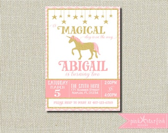 Pink and Gold Birthday Invitation, Pink and Gold Unicorn Invitation, Unicorn Birthday Invitation, Unicorn Invitation, Gold Glitter, Unicorn