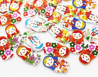 Matryoshka Doll Wood Button, Children Button, Baby Button, Mix Wooden Buttons, Two Holes Button,Wooden Russian Doll,Babushka Nested Dolls