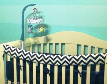 Crib Rail Teething Guard - Navy & White Chevron