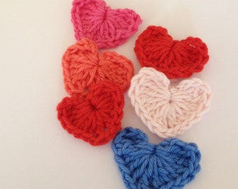 crochet hearts, hearts, applique, embellishment, card making, scrapbooking, motif, crochet, supply, gift topper, trim, hair bow, hand made