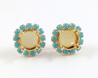 8mm ss39 Gold Plated Stud Earrings Settings Pave Turquoise Rhinestones 1 Pair