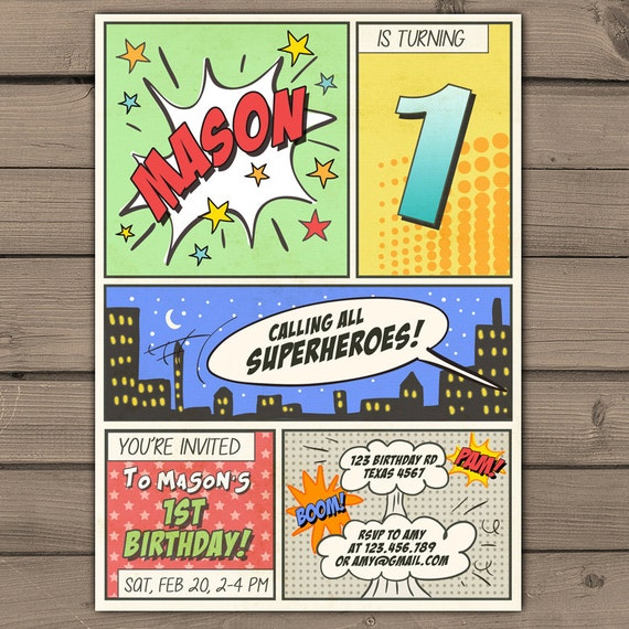 printable superhero invitations