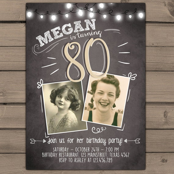 80th birthday invitation Vintage birthday invite Chalkboard adult