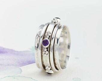 Spinner Rings, Birthstone Rings, Fidget Rings, Amethyst Rings, Worry Rings, Boho Rings, Meditation Rings,Spinning Rings, Spin Rings JR120