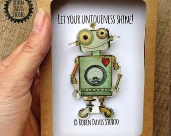Robot Pin - Robot Accessory - Robot Jewelry - Robot Brooch - Unique Robot Gift - Artist Gift - Gift for artist - Robots -RobinDavisStudio