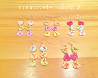 Valentine's Day Candy / Conversation Heart / Sweetheart / Handmade / Polymer Clay Dangle Earrings