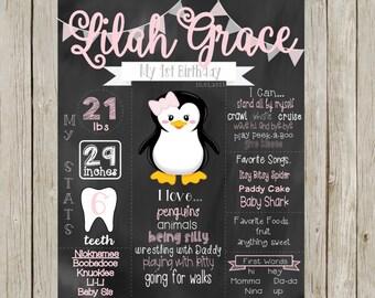 First Birthday Chalkboard PRINTABLE DIGITAL FILE Penguin Theme Pink/Gray Girl Birthday Sign/Poster