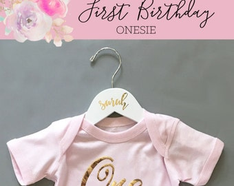 One Year Old Girl Birthday Outfit One Year Old Gift Baby Girl Onesie One Onsie First Birthday Girl Outfit (EB3168FY) - One BODYSUIT ONLY