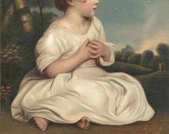 Age of Innocence, Joshua Reynolds, art postcard, girl white dress, antique landscape, chromolithograph print, c1900s  (pcil/ch9)