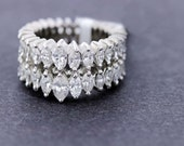 Double Row Marquise Diamond Ring Platinum