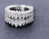 Double Row Marquise Diamond Ring Platinum