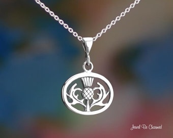 """Oval Sterling Silver Thistle Necklace 16-24"""" Chain or Pendant Only 925"""
