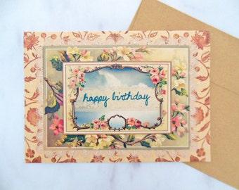 vintage lace birthday card | ink embossed 5x7 feminine birthday greeting card | vintage floral design with pink & blue
