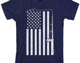 Fishing American Flag Men's T-shirt USA Fishermen Pole Rod Hook Catch Stars and Stripes - TA_00148