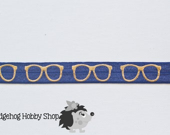 "5/8"" fold over elastic, geeky glasses fold over elastic, headband supplies, nerdy glasses elastic,  elastic by the yard"