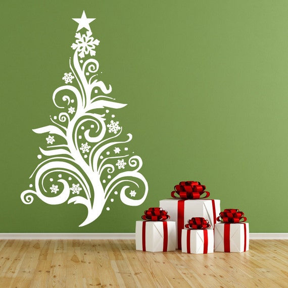 Christmas tree vinyl wall decal christmas decorations large - Christmas wall decorations ...
