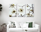 3 piece wall art, white flower canvas art, aqua brown floral canvas split, extra large wall art, tryptich tryptic 3 panel wall art magnolia