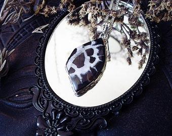 Black Septerian Pendant, Dragon Stone Pendant, Butterfly Wing, Unusual, Black Crystal