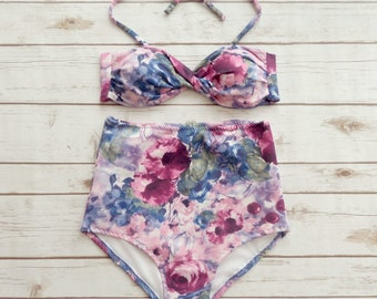 Twist High Waisted Bikini - Retro Pin-up Vintage Style Swimwear - Pretty Pastel Pink Purple Blue Watercolor Floral Print Design Swimsuit