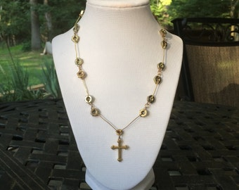 Golden Cross Necklace with Hardware Details