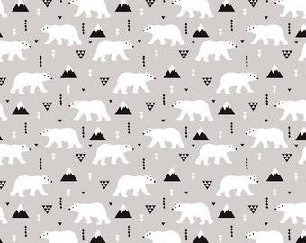 Crib Sheet in Winter Polar Bear. Fitted Crib Sheet. Baby Bedding.