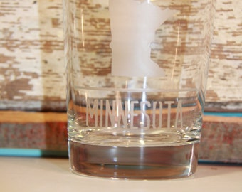 Minnesota etched small lowball tumbler glass