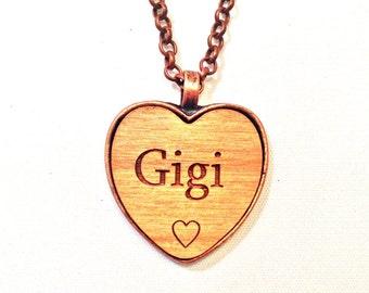 GIGI HEART NeCKLaCE pendant Gigi's jewelry necklace  Gigi keychain wood name handmade chic wooden engraving personalized custom charm gift