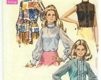 1970's Vintage Sewing Pattern - MissesBlouse Simplicity Patterns #8594 HV