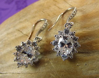 Cubic Zirconia Earrings, Bride Earrings, Bridal Earrings, Bridal Jewelry, Special Occasion Jewelry