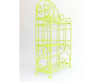 Shelf Vintage Storage Rack Counter top Bathroom Wire Metal Kitchen Stand Towels Dishes Toys Books Display Mid Century Shelves Lime Green