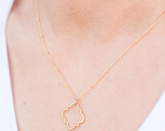 Marrakesh Gold Necklace // Gold Quatrefoil Necklace // Quatrefoil Necklace // Clover Jewelry