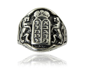 Jewish jewelry.Sterling silver Ten Commandments ring.Men ring.Made in Jerusalem.FREE SHIPPING.