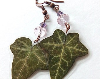 Real Flower Jewelry- Ivy Earrings- Pressed Leaves- Hand Crafted- Nature Jewelry