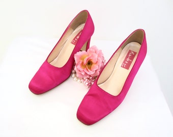 Vintage  1990's 90's Ladies Cerise Pink Satin Evening Party Shoes Pumps Size UK 6.5 US 9 EU 39.5