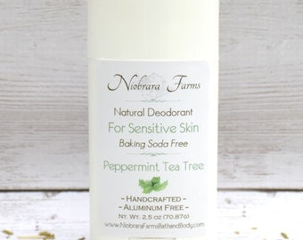 Baking Soda Free Deodorant - Natural Peppermint Tea Tree Deodorant - Aluminum Free Deodorant - Deoderant for Sensitive Skin - 2.5 oz.