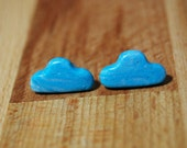 Cloud Earrings - Blue Earrings - Weather Earrings - Rain Cloud Earrings - Clay Earrings - Cloud Jewellery - Fluffy Clouds