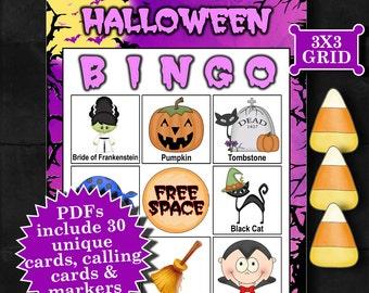 Halloween - Purple 3x3 Bingo printable PDFs contain everything you need to play Bingo.