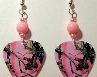 CAMOUFLAGE Pink Camo Guitar Pick Beaded Earrings - Handmade in USA