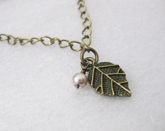 Necklace ~ Antique bronze  Leaf  & Glass pearl   Dainty
