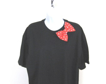 Choose Bow T-shirt, Black Tshirt with Bow, Short Sleeve Cotton Tee, Black Top, Women Bow Top, Teen T-shirt
