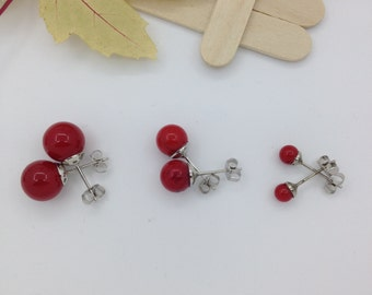 Red Coral Earrings Stud Earrings Round 4.5mm 8mm  10mm Silver Tone