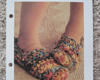 Crochet Pattern - Rag Slippers - To Fit All Sizes - Vintage