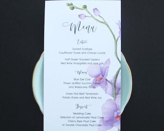 Lilac Orchid Wedding Menu Card