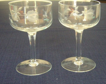 Set of Two (2) Etched Glass, Sherry or Port Glasses