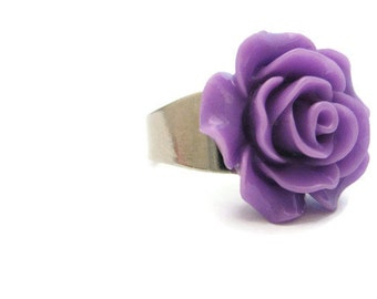 Purple Rose Ring Lilac Flower Ring  Kawaii Adjustable Ring Statement Ring Cosplay Jewelry Flower Jewelry Lilac  Rose Jewelry