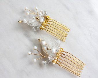 White and gold hair comb set, wedding hair piece, bridal hair combs